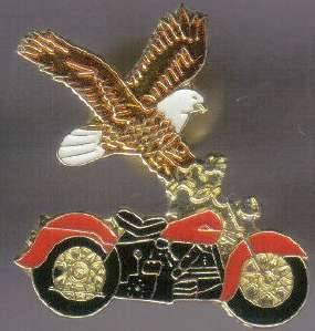 12 Pins - MOTORCYCLE WITH EAGLE biker hat lapel pin 568