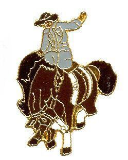 12 Pins - RODEO BUCKING HORSE RIDER , hat lapel pin 590