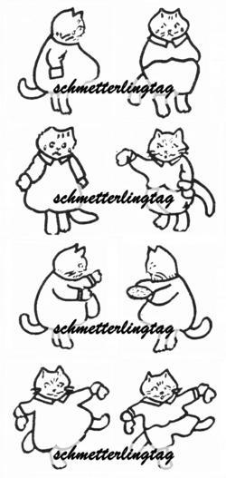 1930s Embroidery Iron-on Transfers Kittens Lost Mittens 30s Prohibition Transfer