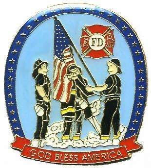 12 Pins FIREFIGHTERS RAISING USA FLAG GOD BLESS pin 720