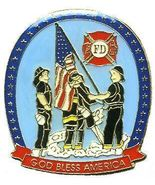 12 Pins FIREFIGHTERS RAISING USA FLAG GOD BLESS pin 720 - $9.50