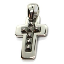 """SOLID 18K BLACK & WHITE GOLD DOUBLE SQUARE CROSS, 0.8"""",  SMOOTH, ITALY MADE    image 2"""