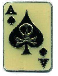 12 Pins - ACE OF SPADES w/ SKULL & CROSSBONES pin 1933
