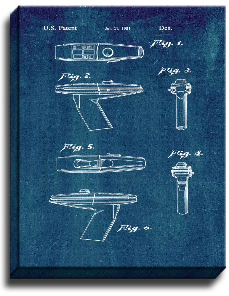 Primary image for Star Trek Phaser Patent Print Midnight Blue on Canvas
