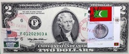 MONEY US $2 DOLLARS 1995 FEDERAL RESERVE NOTE  COIN AND FLAG MALDIVES GE... - $59.40