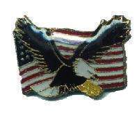 12 Pins - AMERICAN FLAG w/ EAGLE , hat lapel pin #4712