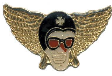 12 Pins - AVIATOR SKULL w/ WINGS , hat lapel pin #4571 Bonanza