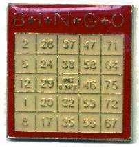 12 Pins - BINGO CARD , player hat cards lapel pin #1824 - $9.00
