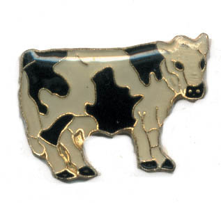12 Pins - BLACK & WHITE COW , farm hat lapel pin #60 Bonanza