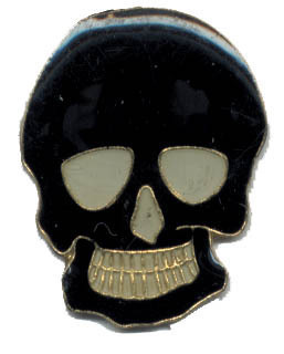 12 Pins - BLACK SKULL , hat lapel pin #1924 Bonanza