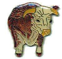 12 Pins - BULL , hat tac lapel pin cow #211
