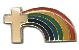 12 Pins - CROSS w/ RAINBOW , religous lapel pin #4570 Bonanza