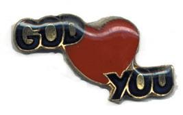 12 Pins - GOD LOVES YOU , religous hat lapel pin #1840 - $9.00