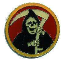 12 Pins - GRIM REAPER , death hat lapel fear pin #4682
