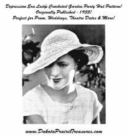 1935 Prohibition Crochet Hat Pattern Depression Ladys Brim DIY Milliner Howto