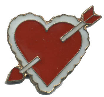 12 Pins - HEART w/ ARROW THRU IT , love lapel pin #4725