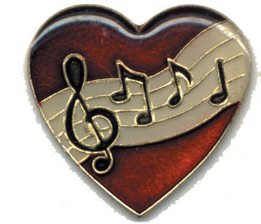 12 Pins - HEART w/ MUSICAL NOTES , music lapel pin 1826