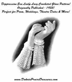 1935 Prohibition Crocheted Glove Pattern Depression Era Crochet Lace Prom DIY 1