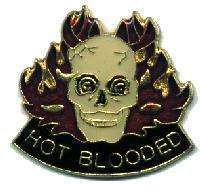 12 Pins - HOT BLOODED w/ Skull & Flames , hat pin #1906