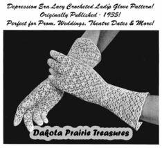 1935 Prohibition Crocheted Glove Pattern Depression Era Crochet Lace Prom DIY 3 - $4.99