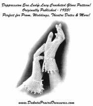 1935 Prohibition Crocheted Glove Pattern Depression Era Crochet Lace Prom DIY 4 - $4.99