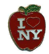 12 Pins - I LOVE NEW YORK , big apple lapel pin #4642