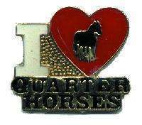 12 Pins - I LOVE QUARTER HORSES , horse lapel pin #4739