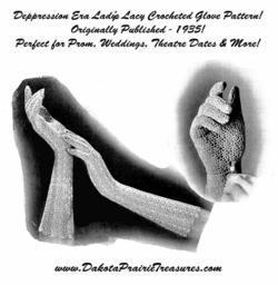 1935 Prohibition Crocheted Glove Pattern Depression Era Crochet Lace Prom DIY 7