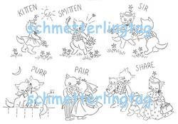 1940s Swing Era Iron-on Transfers Embroidery Courting Kitten Quilt Vintage 40s