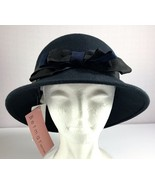 Betmar Womens Cloche Hat Black Wool with Bow - $44.95