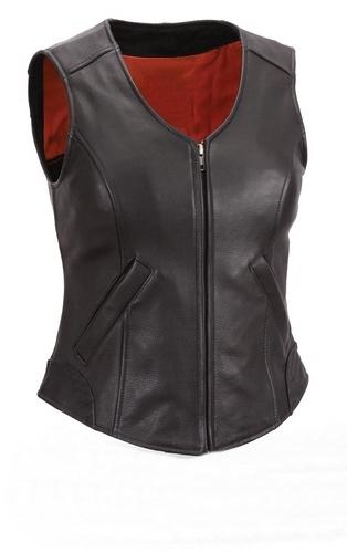 NWT Women Ladies Genuine Black with Red Lining Gun Club Premium Leather Vest