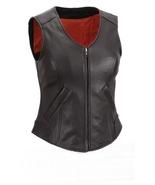 NWT Women Ladies Genuine Black with Red Lining Gun Club Premium Leather Vest - $179.99