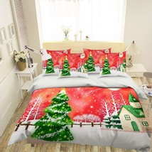 3D Snowing Pine House 26 Bed Pillowcases Quilt Duvet Single Queen King U... - $102.84+