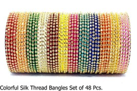Multi Color Charming Look With Vintage Design Silk Thread Bangles Set Fa... - $28.99