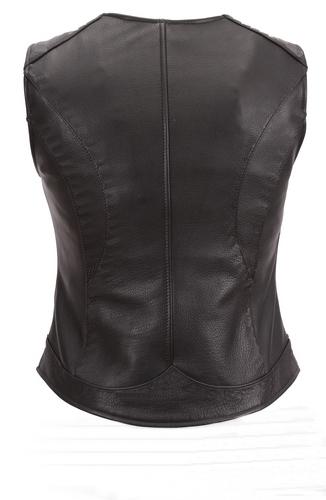 NWT Women Ladies Genuine Black with Red Lining Gun Club Premium Leather Vest image 2