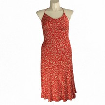Diane Von Furstenberg 12 Large Dress 100% Silk Knit Red Beige Leaf Norma MIdi LN - $49.95