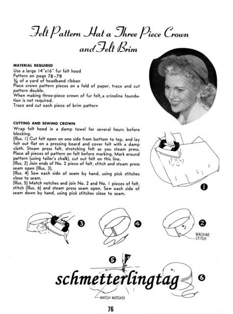 1952 Retro Era Millinery Book CARNAHAN Hat Making Make Hats 30 Pattern Jackie O