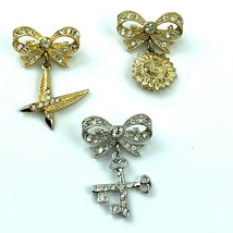 Vtg 1950 Signed ORA Brooch Lot 3 Gold silver tone Crystal Bow Dangle Sun... - $26.14