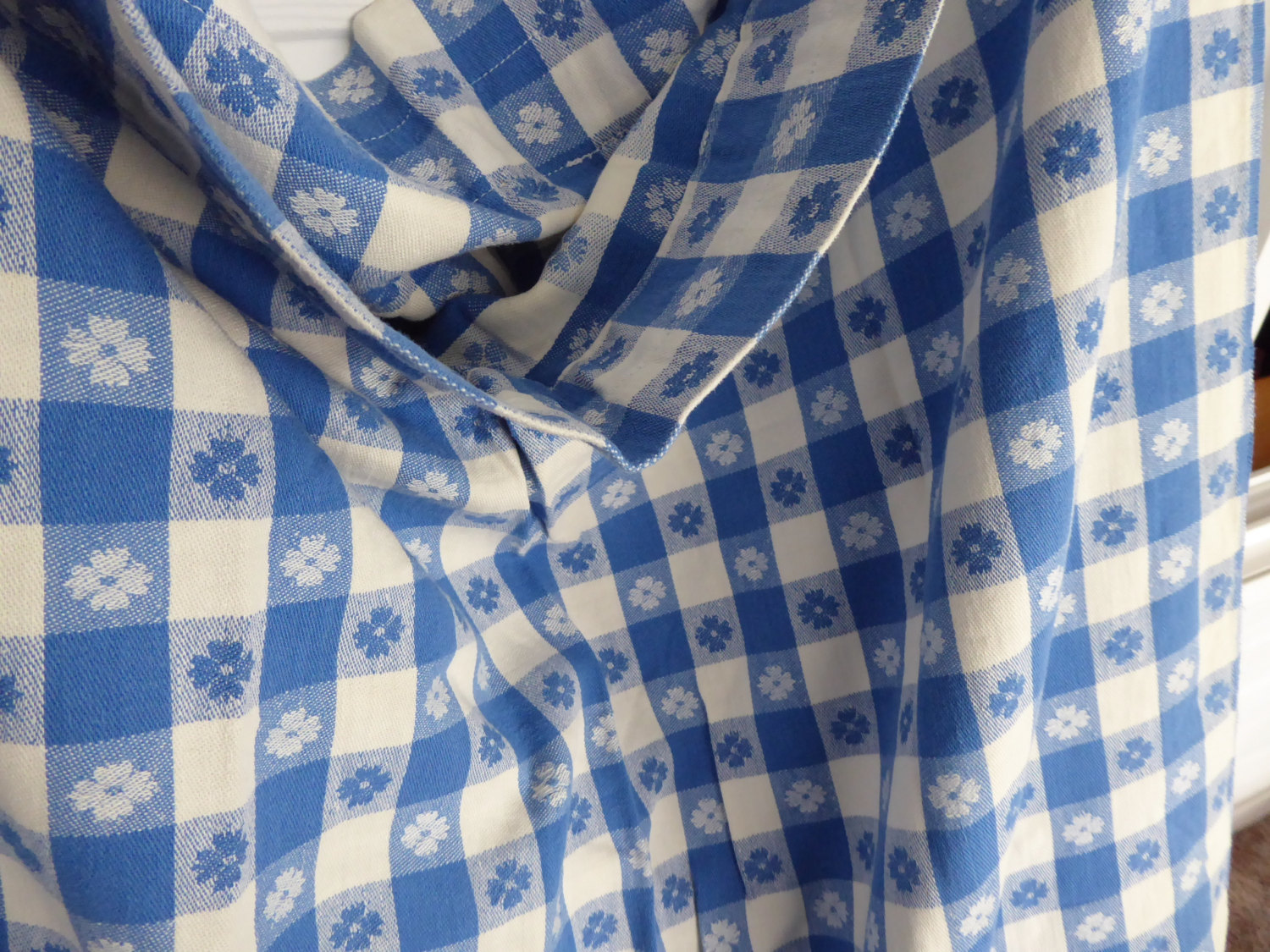 Retro 56 Long by 54 Curtain Drapery 1950s Blue And White Picnic Cloth Reversible