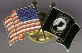 12 Pins - POW MIA AMERICAN FLAGS CROSSED flag pin #4933 - $9.00