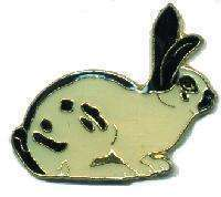 12 Pins - RABBIT , black and white lapel pin #1657