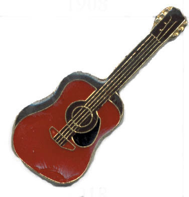 12 Pins - RED ACOUSTIC GUITAR , music lapel pin #1918