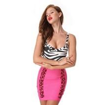 Sexy Women V Neck Dress Party Bodycon Spaghetti Straps Patchwork Sleeveless Club - $45.99