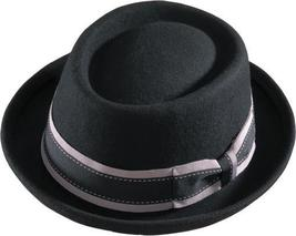 Henschel Wool Porkpie Fedora Ribbon Band Narrow Turned Up Brim Ribbon Bl... - $40.00