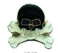 12 Pins - SKULL AND CROSSBONES w/ RED EYES , pin #4565