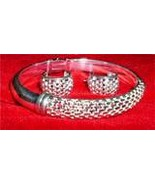 925 Sterling Silver Mesh Bangle Bracelet and Earrings Matching Set New - $24.95