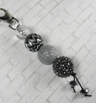 Chevron Rhinestone Bubblegum Handmade Beaded Keychain Purse Charm Black ... - $13.09