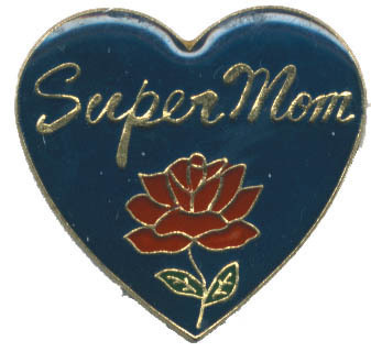 12 Pins - SUPER MOM w/ RED ROSE & HEART mother pin 4117