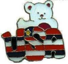 12 Pins - USA w/ BEAR , patriotic hat lapel pin #4773 - $9.00