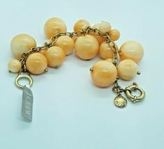 NEW J CREW Orange Round Gold Tone Beaded Cluster Chain Bracelet NWT - $14.89